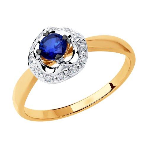 Кольцо из комбинированного золота с бриллиантами и синим корунд (синт.)