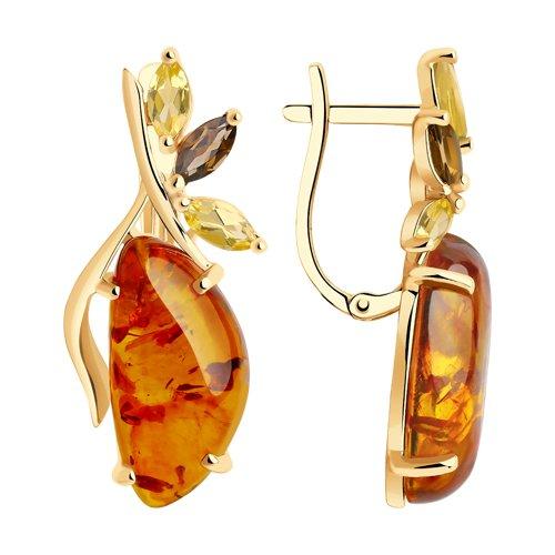 Серьги из золота с раухтопазами, цитринами и янтарём