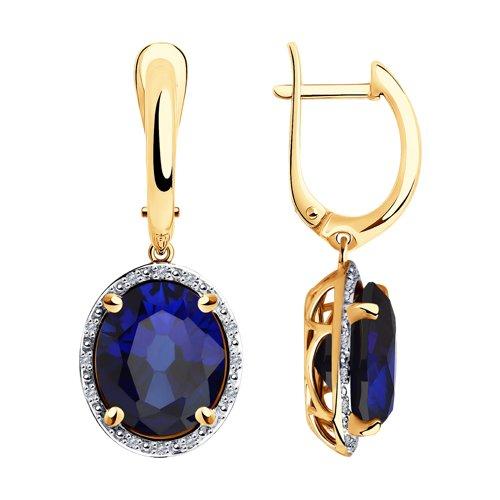 Серьги из золота с бриллиантами и синими корунд (синт.) (6022163) - фото