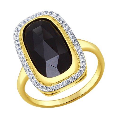 Кольцо из желтого золота с агатом и фианитами (714351-2) - фото