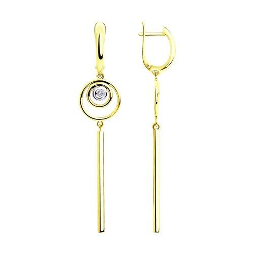 Серьги из желтого золота с бриллиантами (1021299-2) - фото