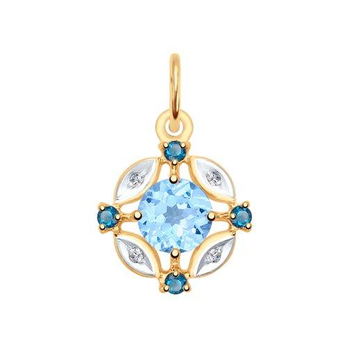 Подвеска из золота с голубым и синими топазами и фианитами (731709) - фото