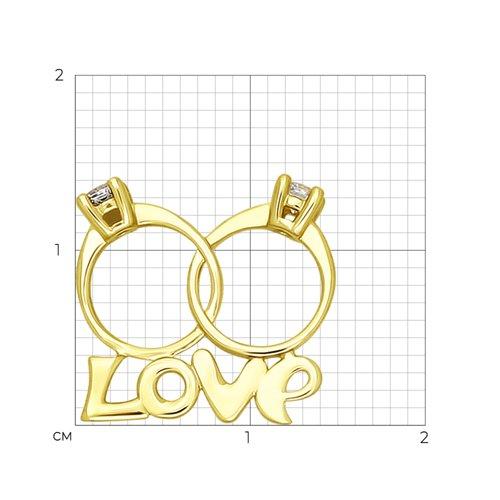 Подвеска из желтого золота с фианитами (034525-2) - фото №2