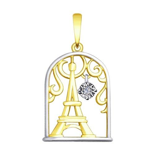 Подвеска из комбинированного золота с бриллиантом (1030704-2) - фото