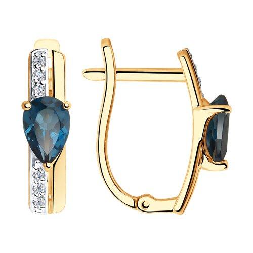 Серьги из золота с синими топазами и фианитами (725966) - фото