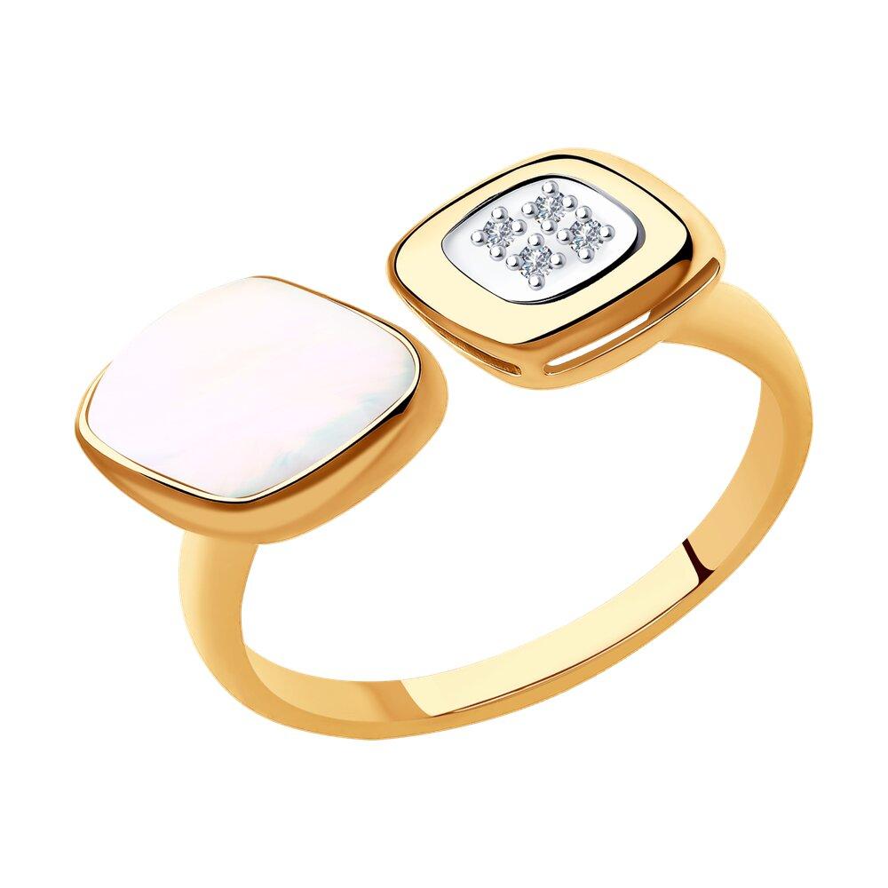 Кольцо SOKOLOV из золота с бриллиантами и дуплетом из натурального кварца и перламутра