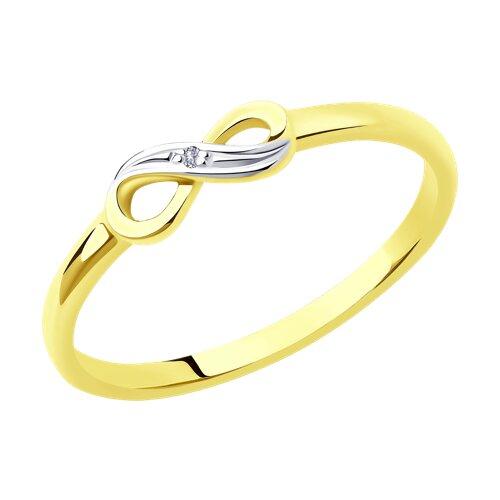 Кольцо из желтого золота с бриллиантом 1011995-2 sokolov фото