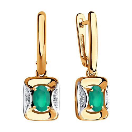 Серьги из золота с бриллиантами и агатами (6023044) - фото №2