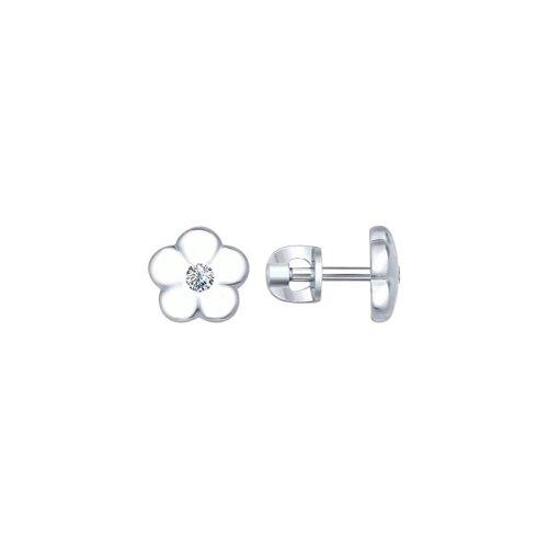 Серьги-пусеты из серебра с фианитами 94022201