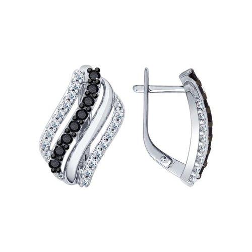 Серьги из серебра с фианитами и чёрными фианитами (94022099) - фото