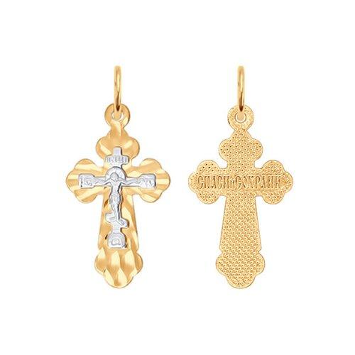 Крест SOKOLOV из комбинированного золота с алмазной гранью фото