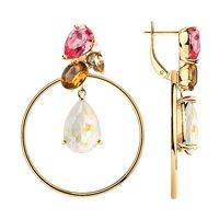 Серьги из серебра с белыми, жёлтыми, коричневыми и розовыми кристаллами Swarovski