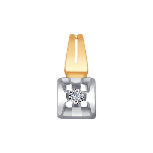 Подвеска из комбинированного золота с алмазной гранью с бриллиантом (1030698) - фото