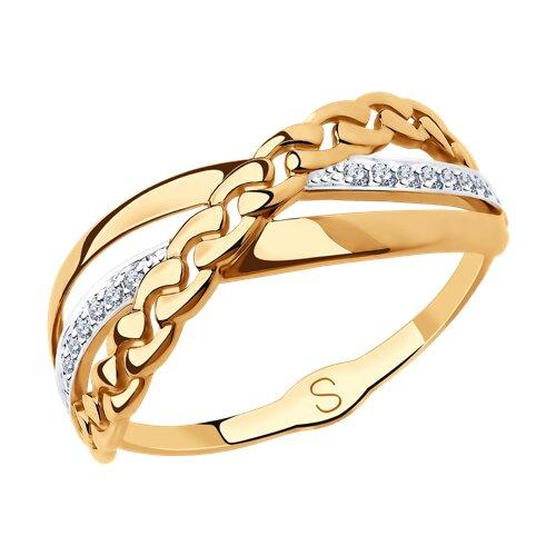 Кольцо из золота с фианитами (018217) - фото