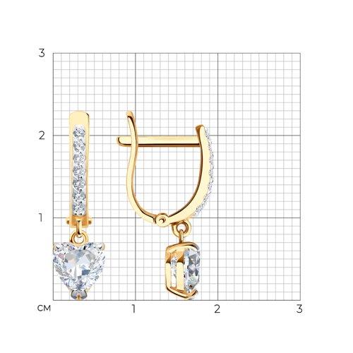 Серьги love из золота с фианитами (026901) - фото №2