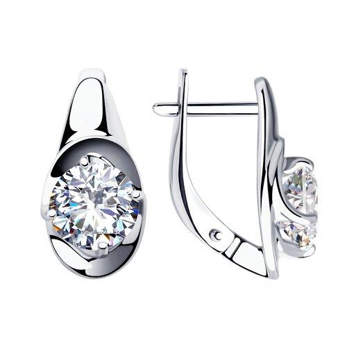 Серьги из серебра с фианитами (94023289) - фото