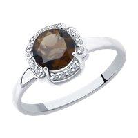 Кольцо из серебра с раухтопазом и фианитами