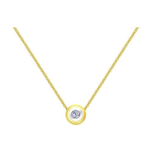 Колье из желтого золота с бриллиантом 1070054 SOKOLOV фото