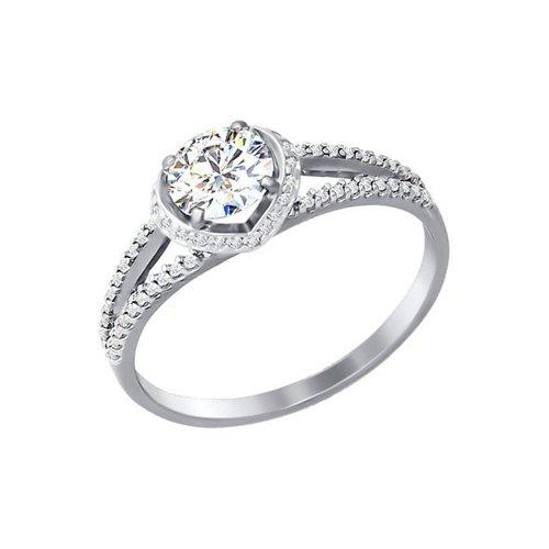 Помолвочное кольцо из белого золота с swarovski zirconia