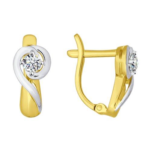 Серьги из желтого золота со Сваровски