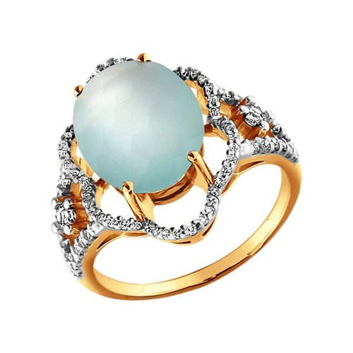 Золотое кольцо с голубым агатом SOKOLOV золотое кольцо ювелирное изделие 01k663088