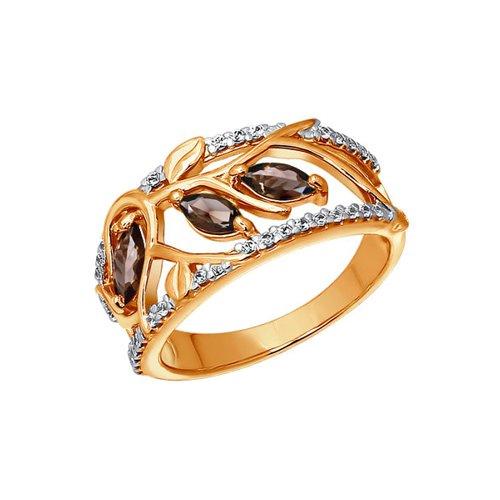 Кольцо SOKOLOV из золота с раухтопазами и фианитами кольцо из золота с раухтопазами