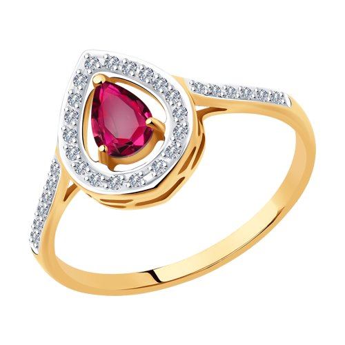 Кольцо из золота с бриллиантами и рубином (4010641) - фото