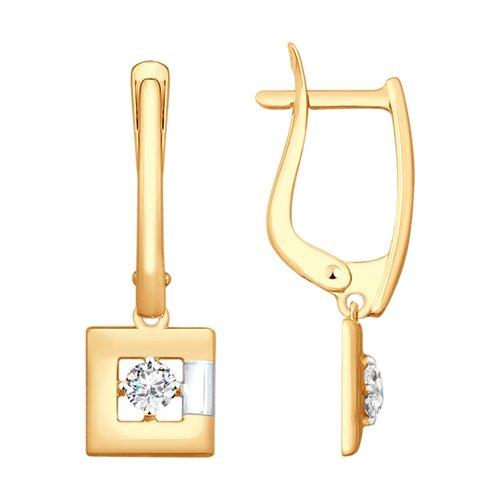 Серьги из золота с фианитами (027962) - фото