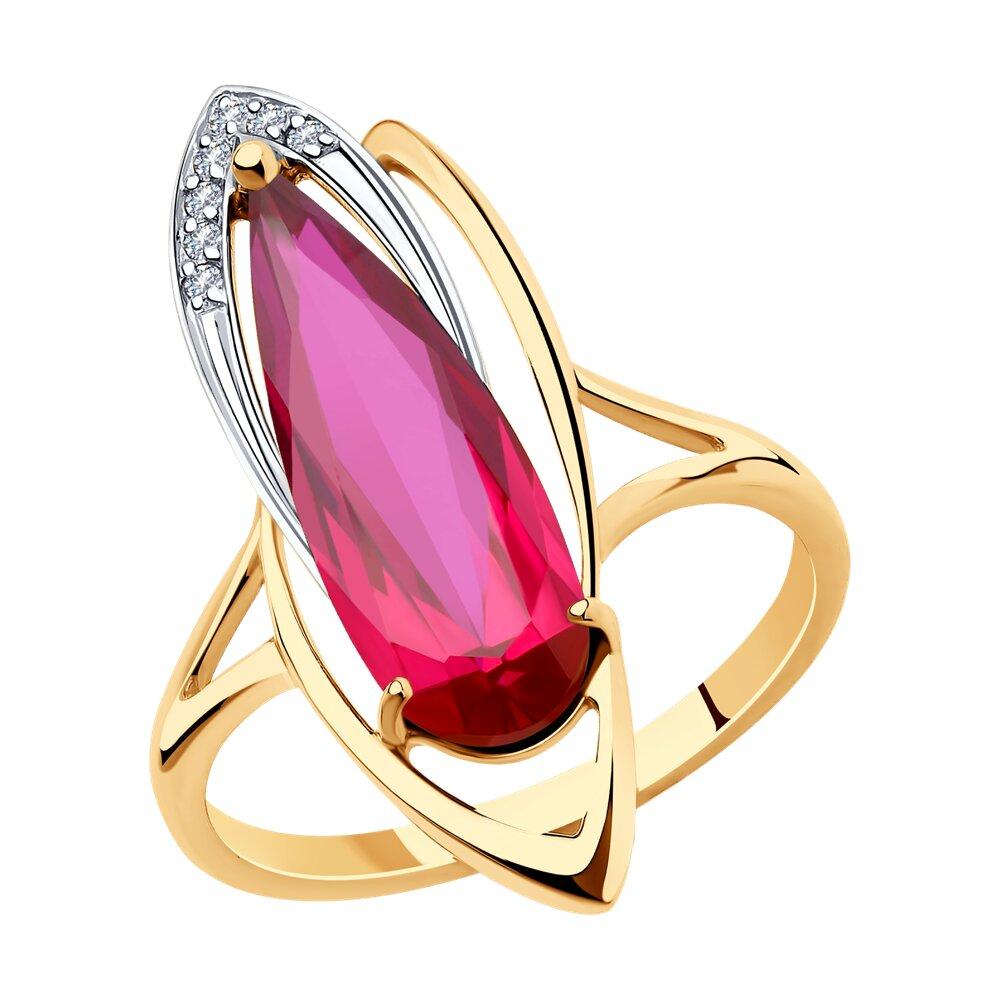 Кольцо SOKOLOV из золота с корундом и фианитами sokolov кольцо из золота с жемчугом и корундом 791038 размер 18