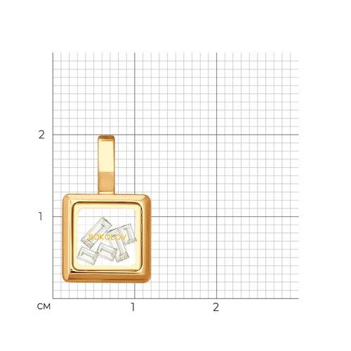 Золотая подвеска со Swarovski Zirconia и минеральным стеклом