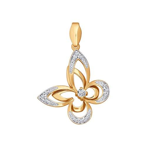 Красивая подвеска с фианитами в форме бабочки SOKOLOV золотая подвеска в виде бабочки с агатами и фианитами sokolov