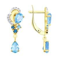 Серьги из желтого золота с голубыми и синими топазами и фианитами