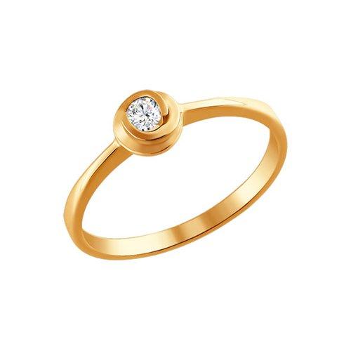Кольцо SOKOLOV из красного золота 585 пробы с бриллиантом серьги из красного золота 585 пробы с нанокристаллом топазом