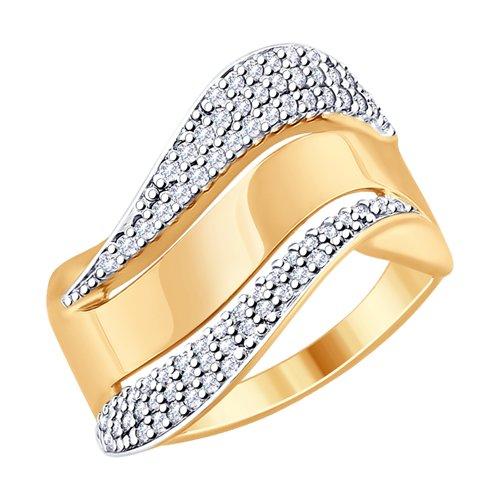 Кольцо из золочёного серебра с фианитами (93010737) - фото