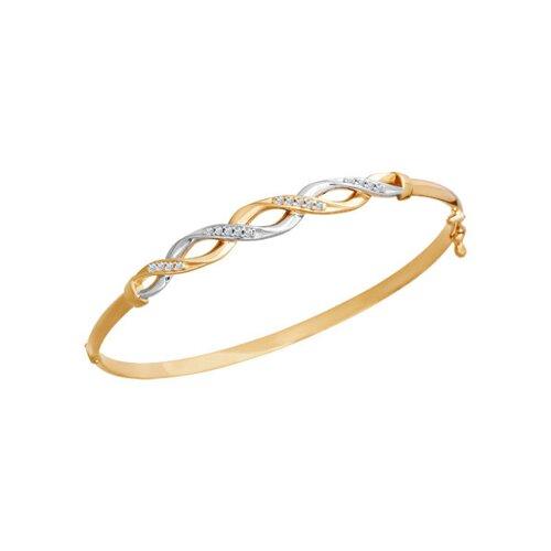 Золотой женский браслет с фианитами