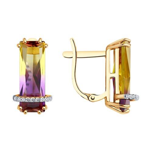 Золотые серьги с аметрином (синт.)