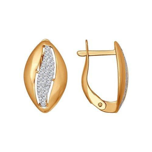 Серьги из золота с фианитами (026599) - фото