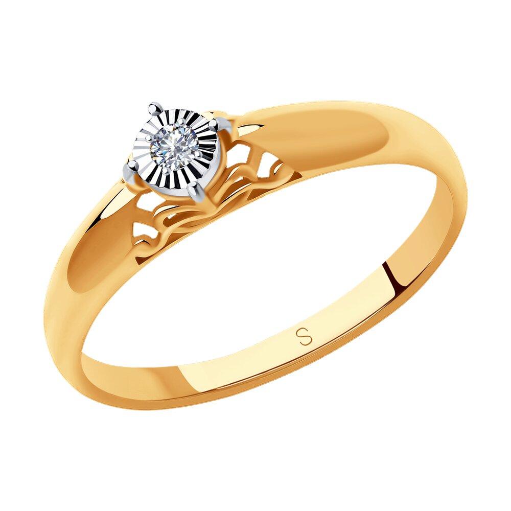 Золотое помолвочное кольцо с бриллиантом SOKOLOV золотое кольцо ювелирное изделие 01k624899