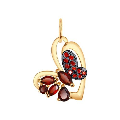 Подвеска «Бабочка» из золота с гранатами и красными фианитами (37731504) - фото