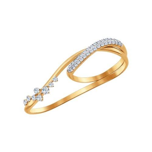 Кольцо на два пальца SOKOLOV из золота с фианитами