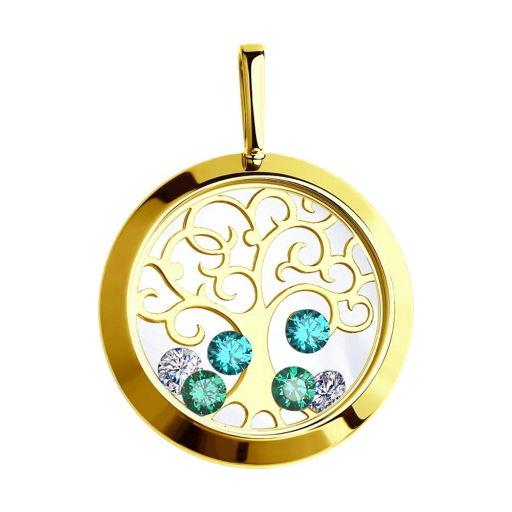 Подвеска SOKOLOV из желтого золота с минеральным стеклом и бесцветными и зелеными фианитами подвеска sokolov из желтого золота с минеральным стеклом и зелеными фианитами