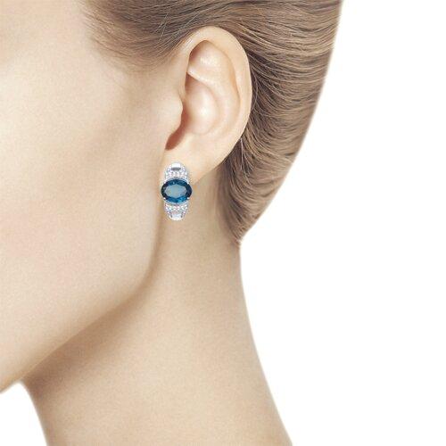 Серьги из серебра с синими топазами и фианитами (92021742) - фото №2