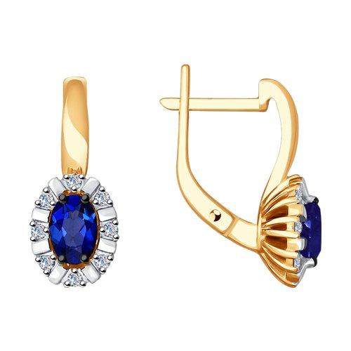 Серьги из золота с бриллиантами и синими корунд (синт.) (6022128) - фото