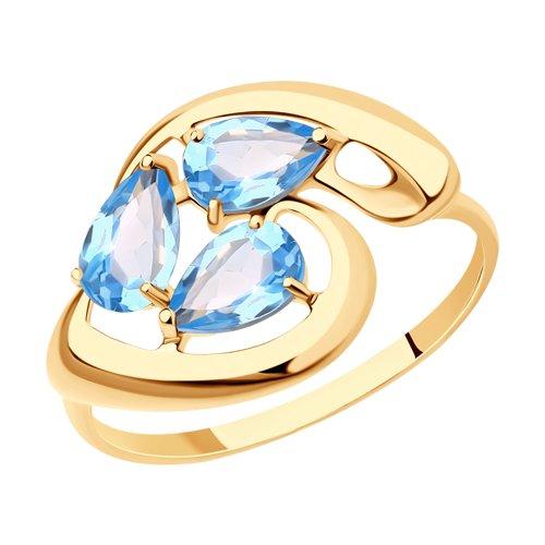 Кольцо из золота с голубыми топазами (714626) - фото