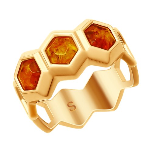 Кольцо из золочёного серебра с янтарём (83010049) - фото