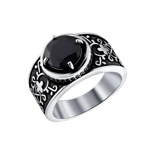 Кольцо из чернёного серебра с чёрным фианитом