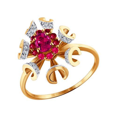 Золотое кольцо с бриллиантами и рубинами SOKOLOV diamanti женское золотое кольцо с бриллиантами db050gb2s 18