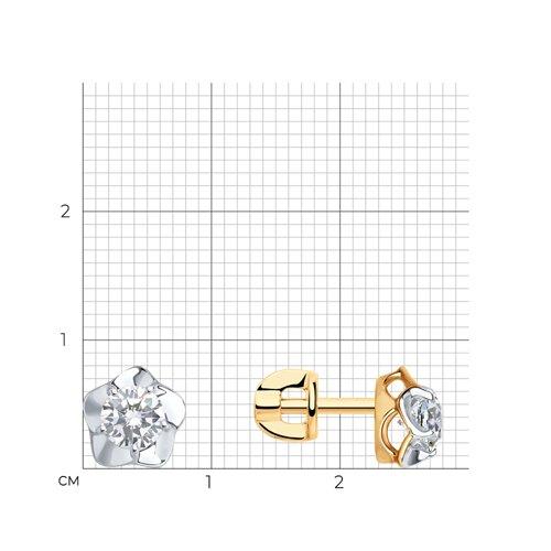 Серьги-пусеты из золота с фианитами (027440) - фото №2