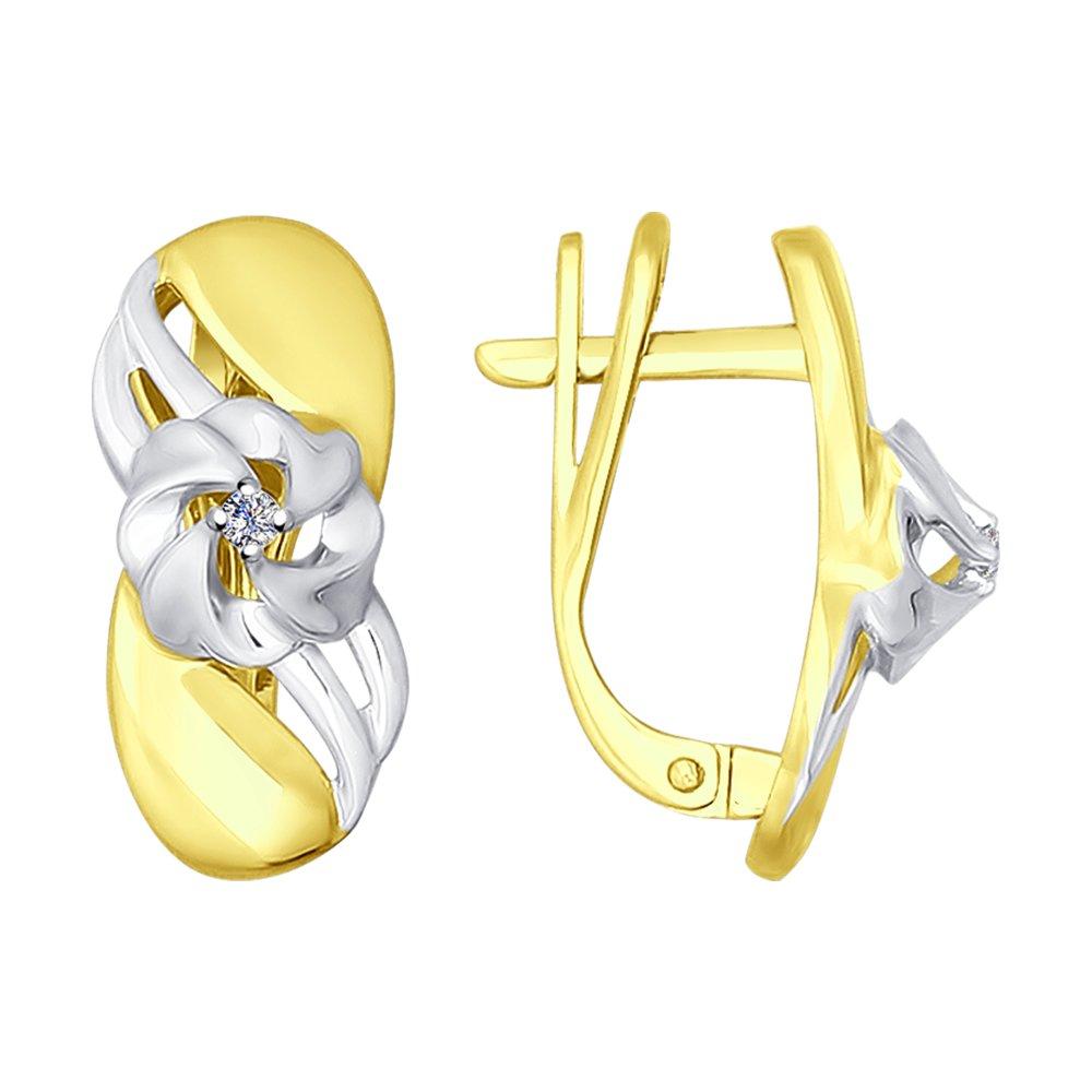 Серьги SOKOLOV из желтого золота с бриллиантами фото