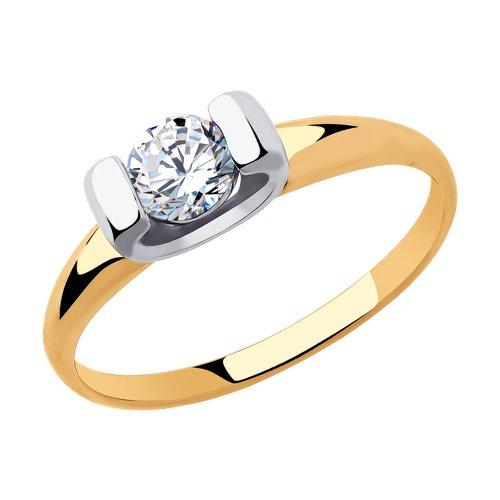 Кольцо из золота с фианитом (018307) - фото